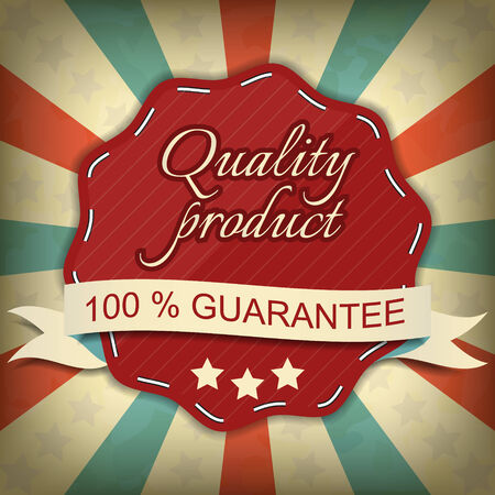 quality guarantee: Quality product, one hundred guarantee label Illustration