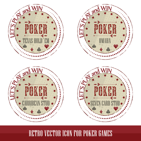 Vintage poker icons for poker games presentation