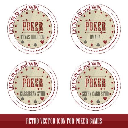 hold em: Vintage poker icons for poker games presentation