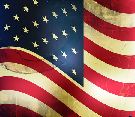 Retro vector background with usa flag and grunge effect Vector