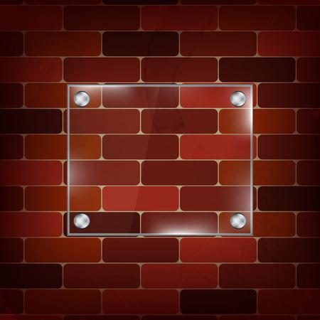 gee: Rectangular glass frame on brick wall background, editable vector design