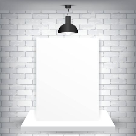 Blank paper on a pedestal and a brick background with lamp, vector illustration Vector