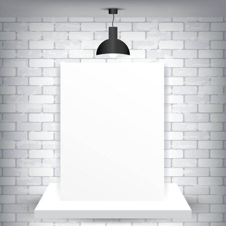 brick background: Carta bianca su un piedistallo e uno sfondo di mattoni con lampada, illustrazione vettoriale