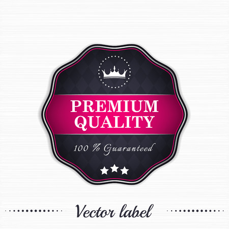 quality service: Premium quality guaranteed vector sale label Illustration