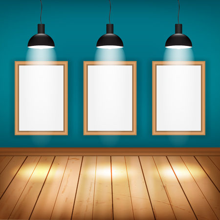 spotlights: Empty room with wooden floor, frame and lights