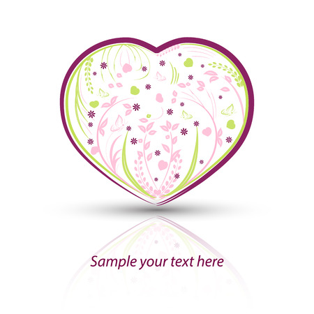 edit valentine: Heart with natural pattern on a white background, vector illustration