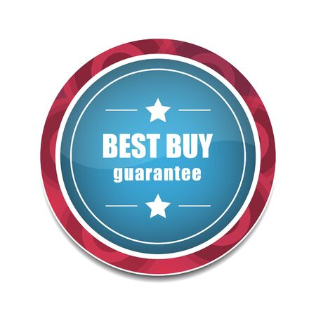 choise: Best buy round vector icon in blue and red color