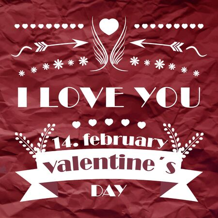 commercial painting: Valentines day retro vector background with ornate elements