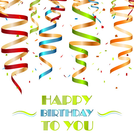 birthday wishes: Colorful spiral ribbons on a white background, design your birthday wishes, vector illustration