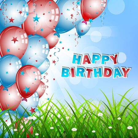 birthday wishes: Birthday wishes with balloons, confetti, green grass and sky, vector illustration