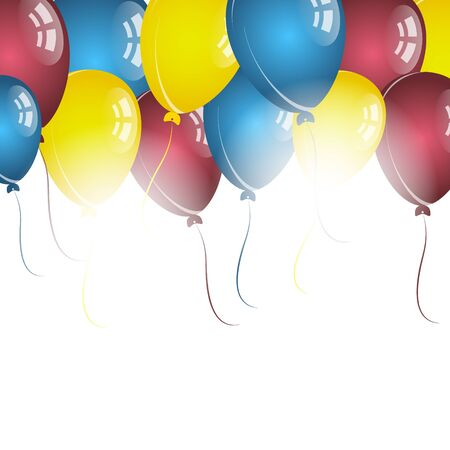 birthday wishes: Color balloons on white background for birthday wishes Illustration