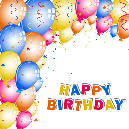 birthday wishes: Colorful balloons and confetti for your birthday wishes