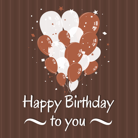 birthday wishes: Happy birthday wishes with confetti and balloons. Retro design. Illustration