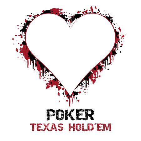 holdem: Poker texas holdem vector illustration with grunge effect