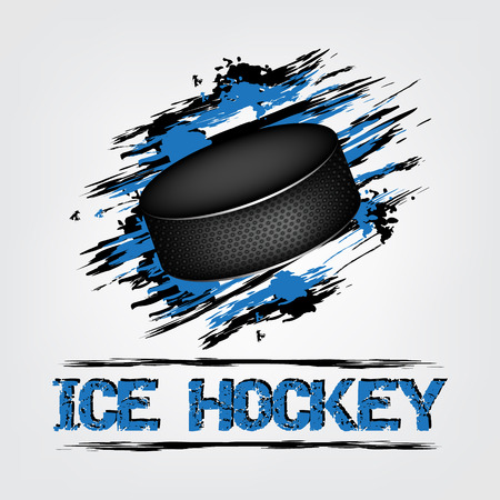 ice hockey puck: Ice hockey vector background with puck and grunge effect