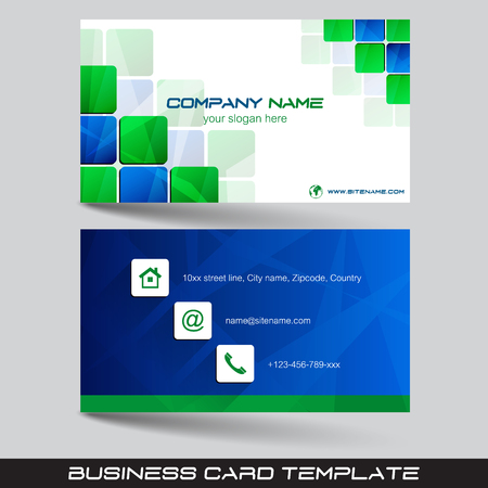 Business card template, visiting card with square pattern, vector illustration