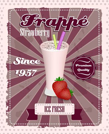 strew: Strawberry frappe poster with drinking strew, fruit and glass in retro style, vintage vector illustration
