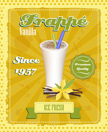 strew: Vanilla frappe poster with drinking strew and glass in retro style, vector illustration