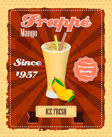 strew: Mango frappe poster with fruit, drinking strew and glass in retro style, vector illustration