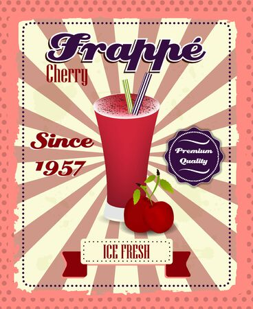 strew: Cherry frappe poster with fruit, drinking strew and glass in retro style. Vintage vector illustration.