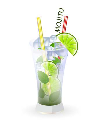 strew: Glass of mojito and drinking strew on a white background