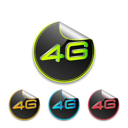 4g: 4G icon in different colors, vector illustration