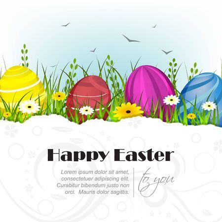 fondo natural: Tarjeta de felicitaci�n de Pascua con la decoraci�n y el ambiente natural