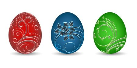 painted eggs: Painted eggs in different colors and natural pattern on a white background, vector illustration Illustration