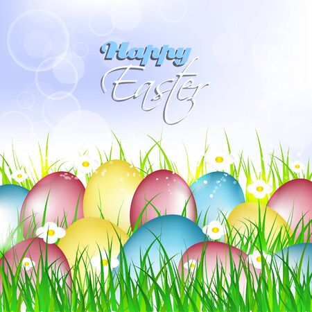 traditionally: Easter card, painted eggs on a grass with flowers, vector illustration
