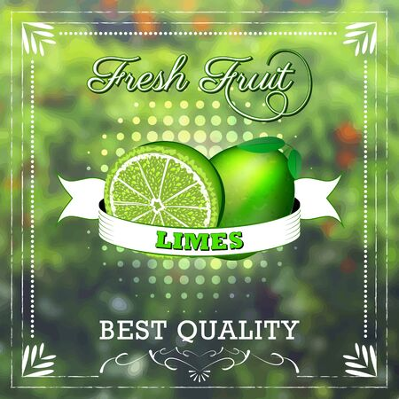 fruity: Lime fruit on natural background with ribbon. Fruity edition, vector illustration.