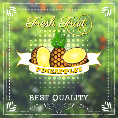 fruity: Pineapple fruit on natural background with ribbon. Fruity edition, vector illustration.