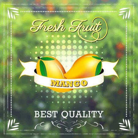fruity: Mango fruit on natural background with ribbon. Fruity edition, vector illustration. Illustration