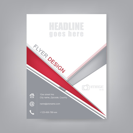 magazine page: Business flyer, brochure template or corporate banner. Design for print, publishing or working presentation