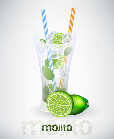 strew: Glass of mojito and drinking strew with lime and ice cubes