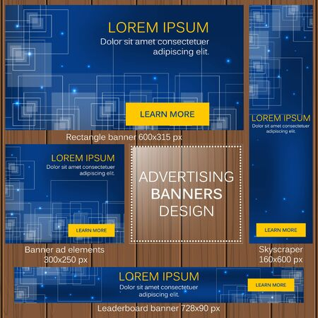 website header: Advertising banners in different sizes for your web design editable vector