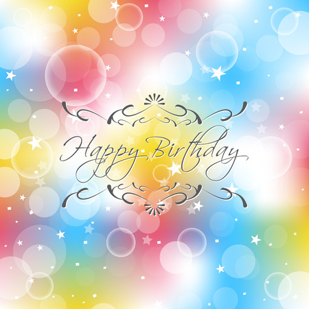 Happy birthday vector illustration with ornate design elements for birthday wishes Vector