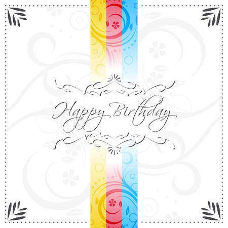 birthday wishes: Happy birthday vector illustration with ornate floral pattern and design lines for your birthday wishes