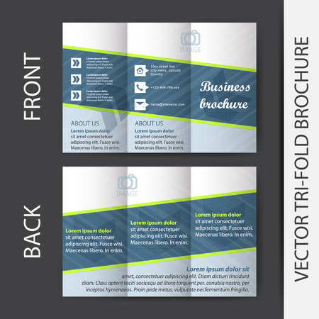 publishing: Corporate business store trifold brochure design for print publishing or presentation with place for your content or creative editing Illustration