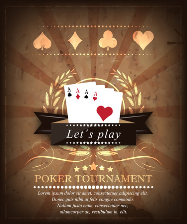 cards poker: Poker tournament vector background in retro style. Design 5
