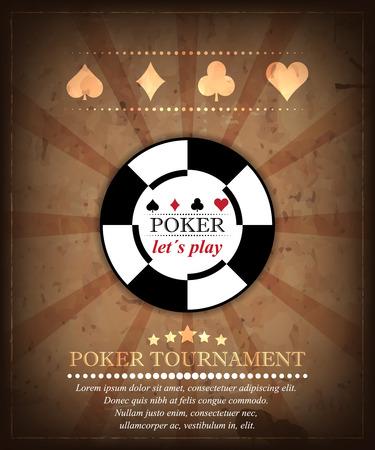 fichas casino: Poker torneo fondo vector en estilo retro. Diseño 4 Vectores