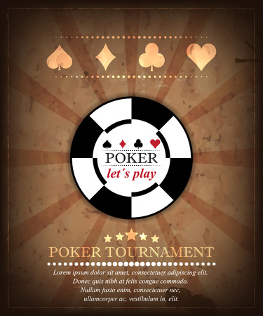 Poker tournament vector background in retro style. Design 4 Ilustração