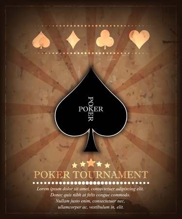 cards poker: Poker tournament vector background in retro style. Design 2