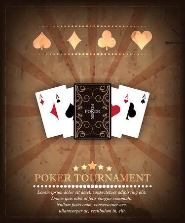 cartas poker: Poker fondo torneo vectorial en estilo retro. Diseño 1 Vectores