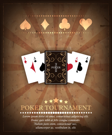 cards poker: Poker tournament vector background in retro style. Design 1