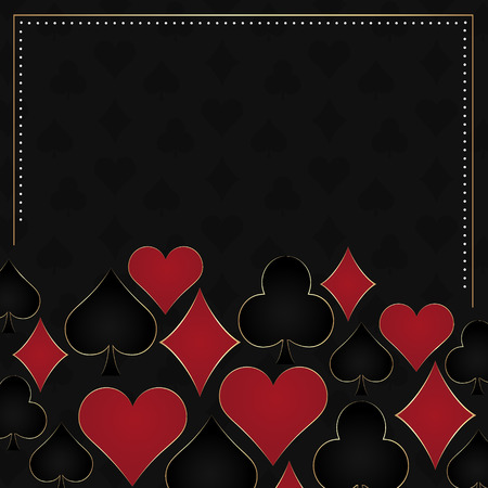 poker chip: Poker dark vector background card symbols and gold frame. Design with place for your content or poster poker tournament poster. Illustration