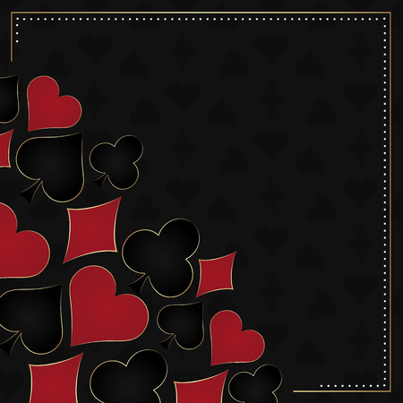 poker: Poker dark vector background card symbols and gold frame. Design with place for your content or poster poker tournament poster. Illustration