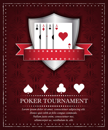royal flush: Poker tournament or background for presentation in retro style and place for your content