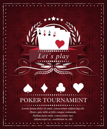 holdem: Poker tournament or background for presentation in retro style and place for your content