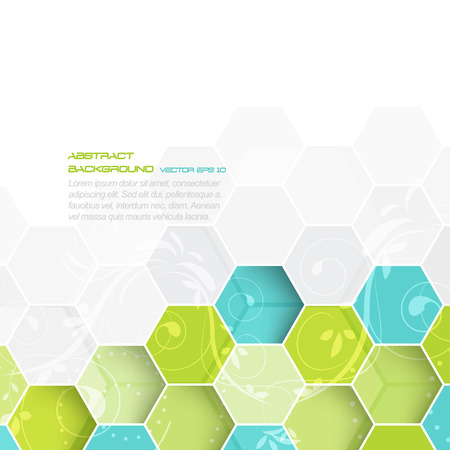 hexagonal pattern: Abstract vector background with hexagonal pattern and floral design with space for your content