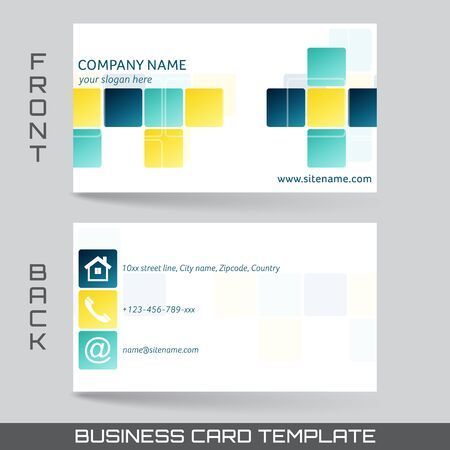 yellow card: Business card template or visiting card set front and back side